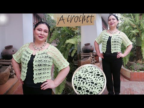 Cómo Tejer Una Blusa A Crochet Saco Torera Tutorial Para Todas Las Tallas Youtube In 2021 Crochet Clothes Crochet Blouse Crochet