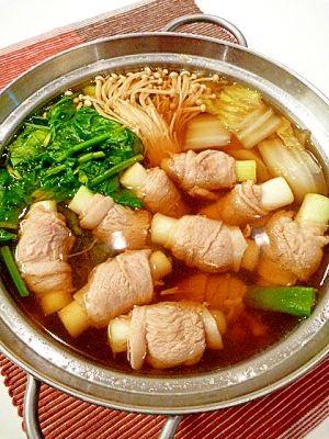 """Healty NABE for cold prevention(Welsh onion,Ginger,pork)"" ねぎ豚巻きで☆風邪知らずの健康鍋。〜生姜スープ〜/ねぎ豚生姜鍋"