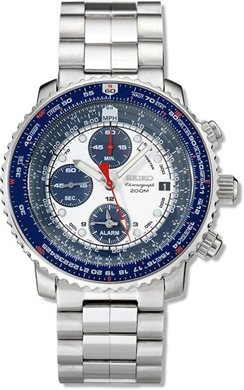 f7bae853f44 Seiko SNA413 Men s 200m Flight Chronograph White Dial Pilot Watch ...