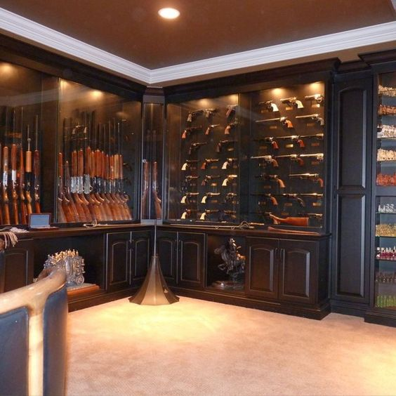 Display cabinets guns and display on pinterest for Built in gun safe room