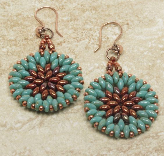 TURQUOISE PICASSO SUPERDUO Earrings - Dangle Earrings - Bronze Luster Opaque Red…