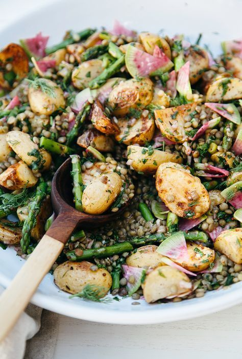 ROASTED POTATO SALAD WITH FRENCH LENTILS & SPRING VEGETABLES