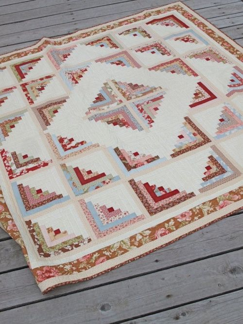 Quilting Digest Free Patterns : Log Cabin Quilt Pattern - Quilting Digest Quilting Digest Pinterest Patterns, Cabin and Logs