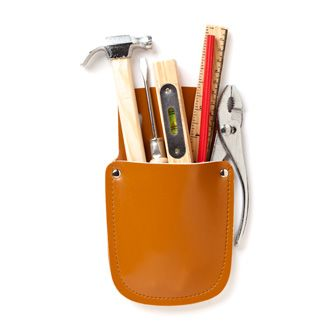junior tool kit  fully functional, child size hammer, pliers,  screwdrivers, spirit level, rule and chunky  pencil - all made in wood and metal. tools  are stored in a leather-effect pouch which  can be slipped onto a belt.     23 x 12cm    £12.00