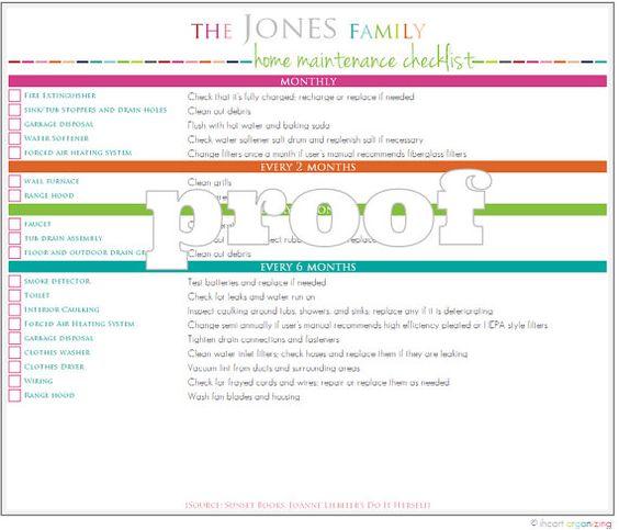 Home Maintanance Checklist