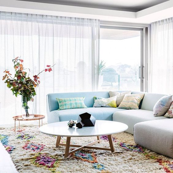 The sky's awake. So I'm awake ...Eating baked vanilla cheesecake and answering pre-order emails! Happy Sunday design friends. Hope it is filled with Life, Love + Colour. Team DS. X This FANTASTICAL living room was styled by @sophiethestylist for @insideoutmag. Photo by @brookeholm. Xxx #designstuff #colourinspiration #livingroominspo
