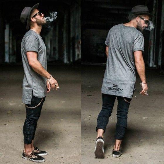 Kosta Williams - Rockboyzurich Oval Grey Tee, H&M Super Slim Skinny Jeans, Vans Slipper. Tee inspo!!