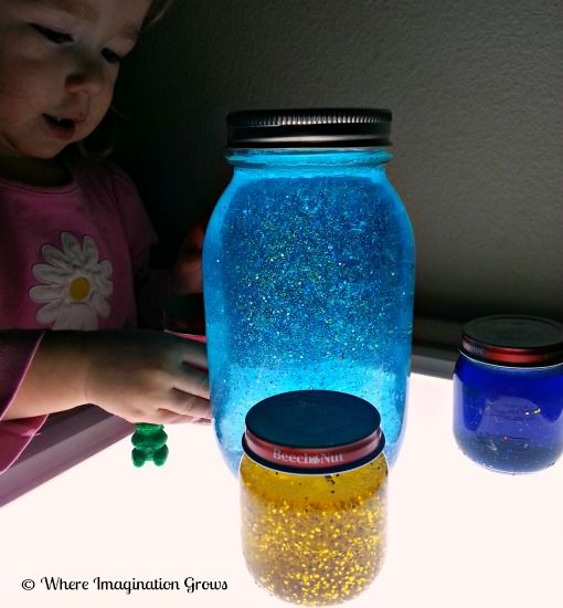 mind jars light play, hot water, glitter glue, and seal shut with super glue.