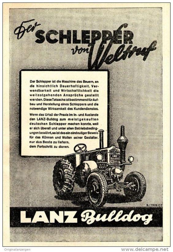 Original-Werbung/ Anzeige 1941 -  LANZ BULLDOG - DER SCHLEPPER VON WELTRUF - ca…
