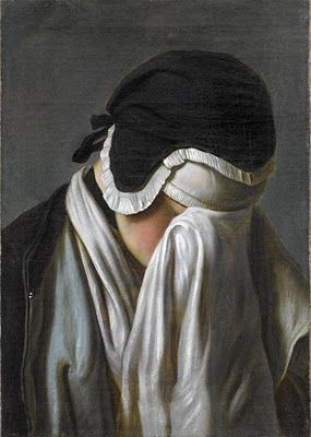Portrait of young girl hiding her eyes, . P.A.Rotari, 18th C.