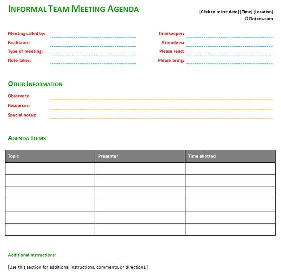 Informal meeting agenda template with basic format – Basic Meeting Agenda Template