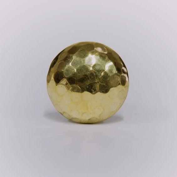 Hammered Gold Metal Decorative Knob, Beaten Door Knob for a Kitchen