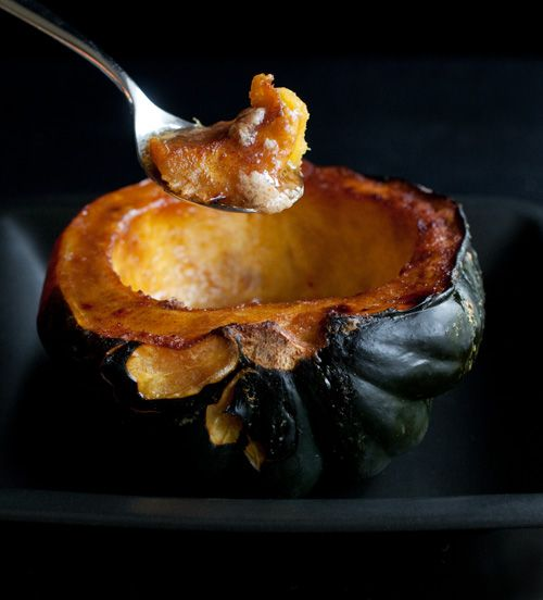 ... of roasted acorn squash with butter, brown sugar, and cayenne