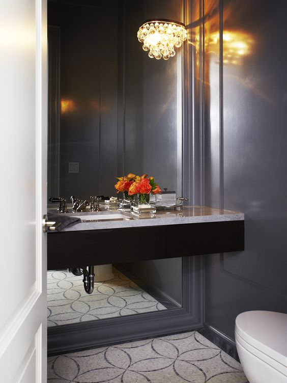 Brooke ave powder room design by feasby bleeks design for Brooke mirror