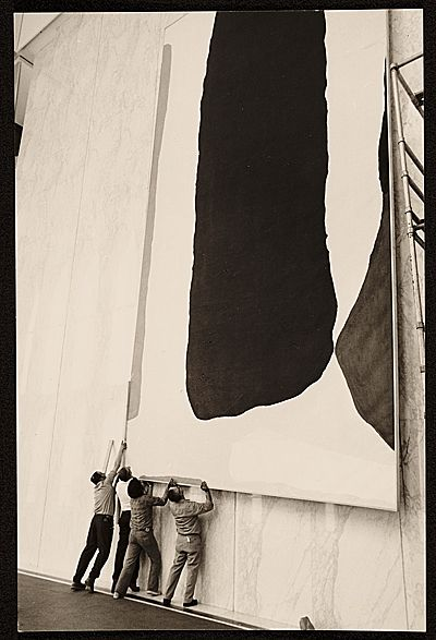 "installing helen frankenthaler's ""guiding red"", (photo by Andre Emmerich, 1977)"