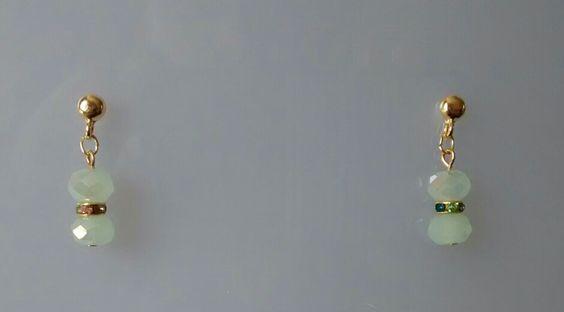 Brinco cristal verde claro
