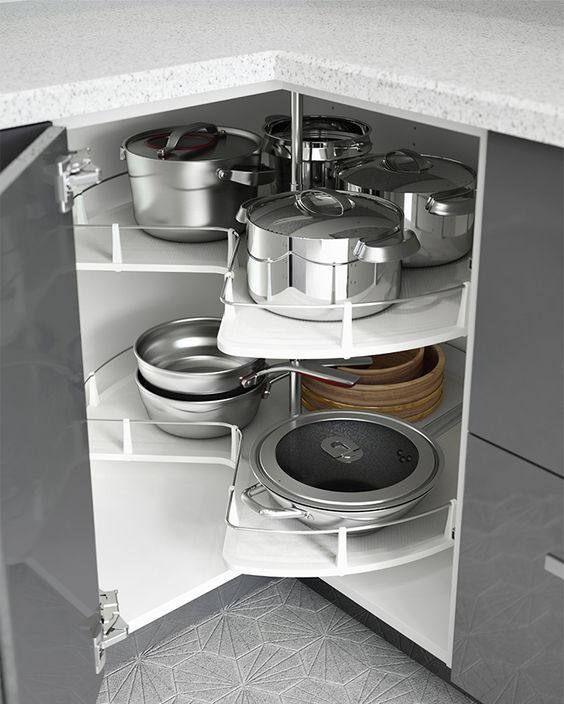 Cocina organizada interior de cocina and carruseles on for Mueble esquinero ikea
