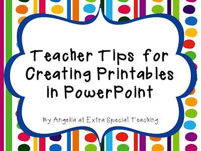Teaching Blog Addict: Creating Printables in PowerPoint Tricks