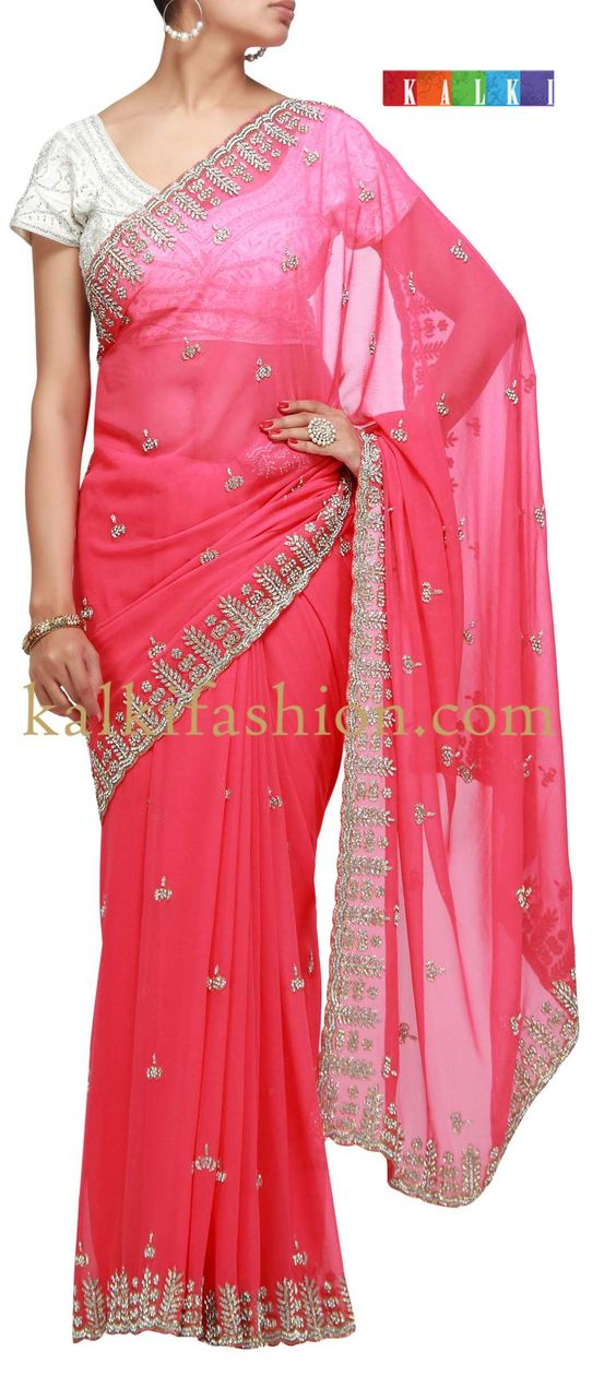 Buy it now  http://www.kalkifashion.com/pink-saree-with-stone-and-kundan-work.html  Pink saree with stone and kundan work