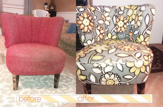 before and after at-home, first timer reupholstery project. not bad. maybe someday I will be ambitious