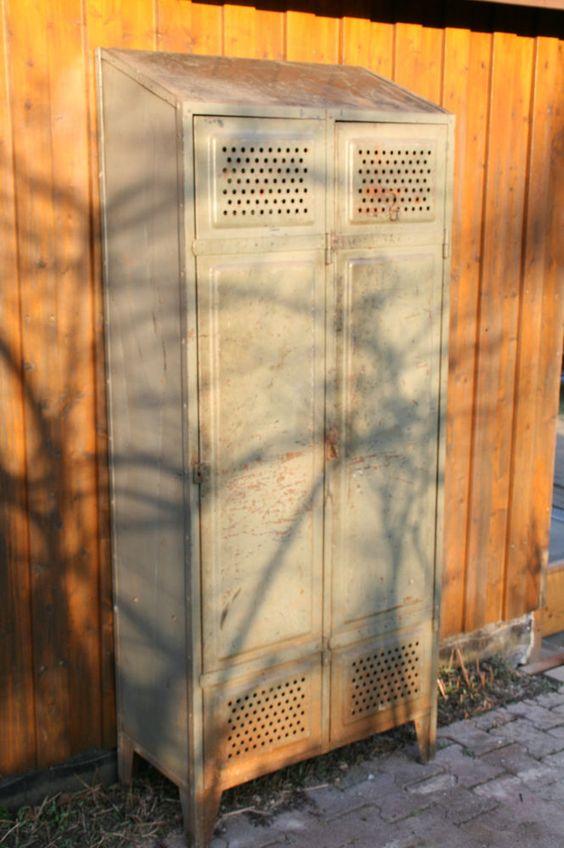 Vintage Art Deco Loft Spind 1910 1920 Schrank Bauhaus Stahlschrank Stahlspind Stahlschrank Spind Bauhaus