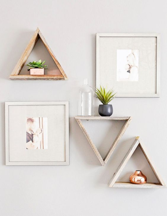 These reclaimed wood triangle shelves are featured in Jenn Browns nursery for her son Nash! ---> ▲▲▲