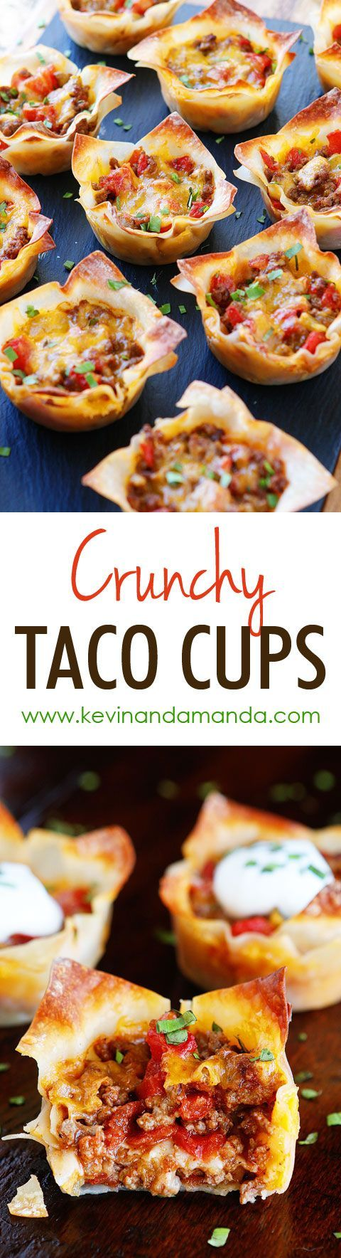 These fun Crunchy Taco Cups are made in a muffin tin with wonton wrappers!  Great for a taco party/bar. Everyone can add their own ingredients and toppings! Crunchy, delicious, and fun to eat!! via Kevin & Amanda #horsdoeuvres #appetizers #fingerfoods #tapas #partyfood #christmaspartyfood #newyearsevepartyfood #newyearseve #tailgating #superbowl #easyappetizers