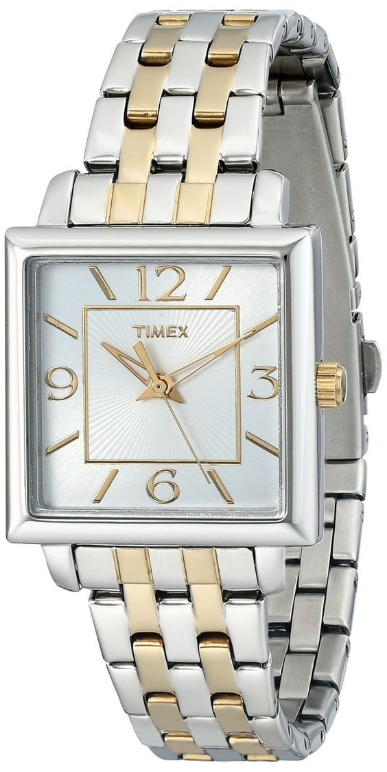 Timex Women's T2P376 Elevated Classics Square Two-Tone Stainless Steel Bracelet…