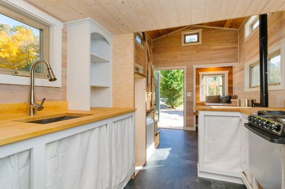 Kitchen and Living Room - MH by Wishbone Tiny Homes
