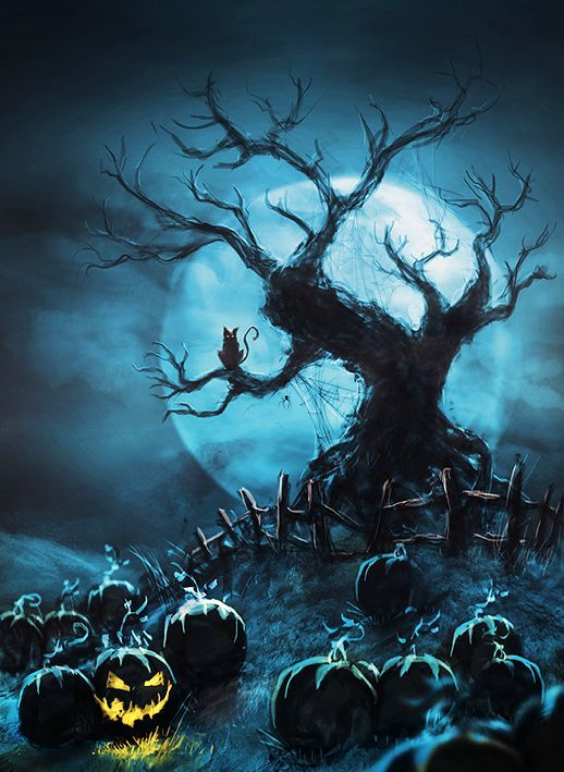 The moon behind scary pumpkins and a leafless tree for Creepy trees for halloween