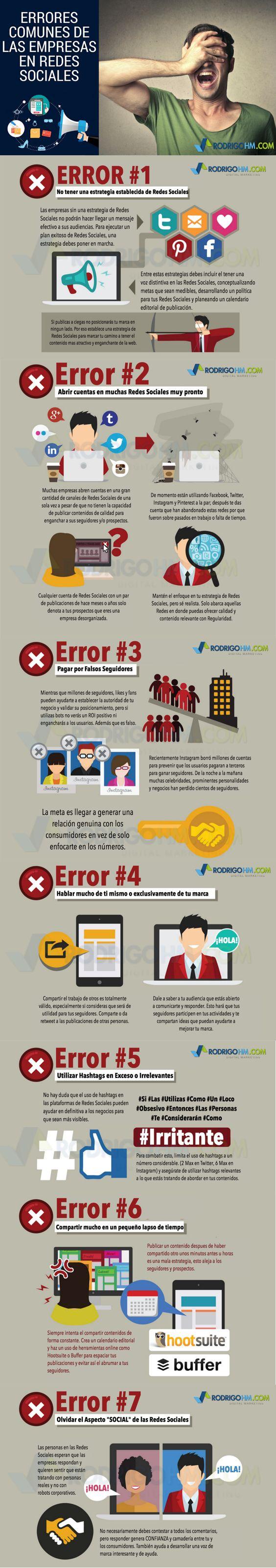 Errores de las Empresas en las Redes Sociales #infografia