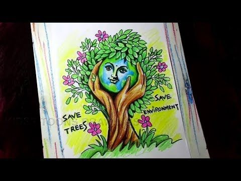 How To Draw Save Trees Save Environment Poster Drawing For Kids Youtube Save Environment Poster Drawing Poster Drawing Save Environment Posters
