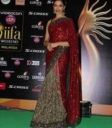 Deepika IIFA 2015 Red and beige embroidered Georgette and net saree with blouse Shop Online