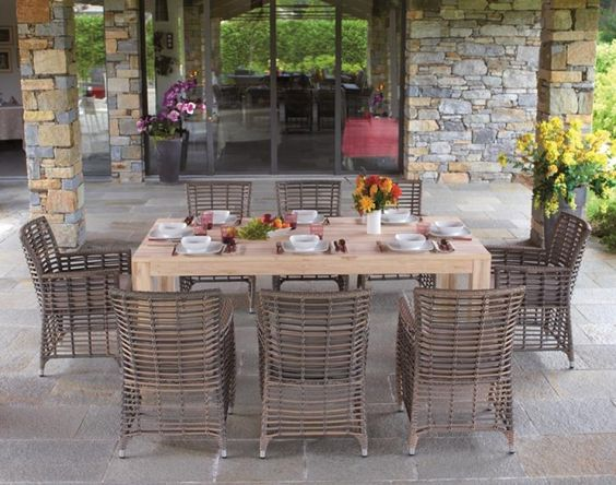Teak dining table Garden chairs and Outdoor tables on Pinterest