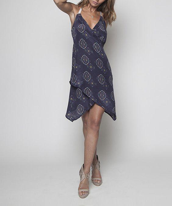 Loving this Rieley Blue Silk Elastic Strap Dress on #zulily! #zulilyfinds
