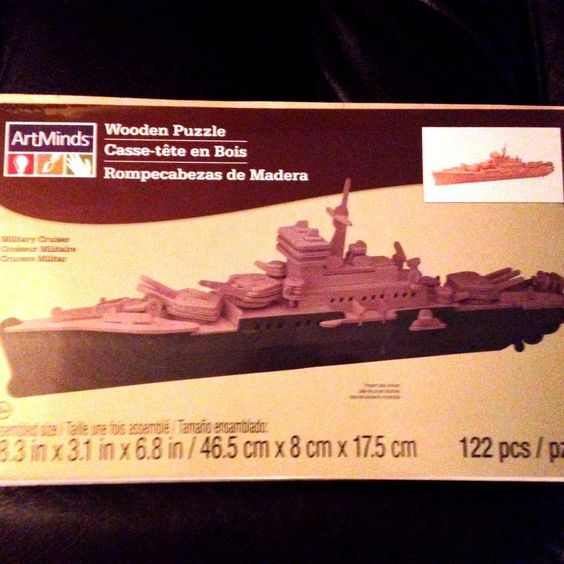 Wooden 3D Puzzle 122 Piece MILITARY CRUISER by Artminds NEW Sealed #Artminds