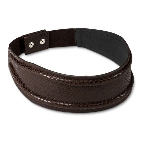 Women's Snake Print Belt with Back Closure L - Brown, Size: Large