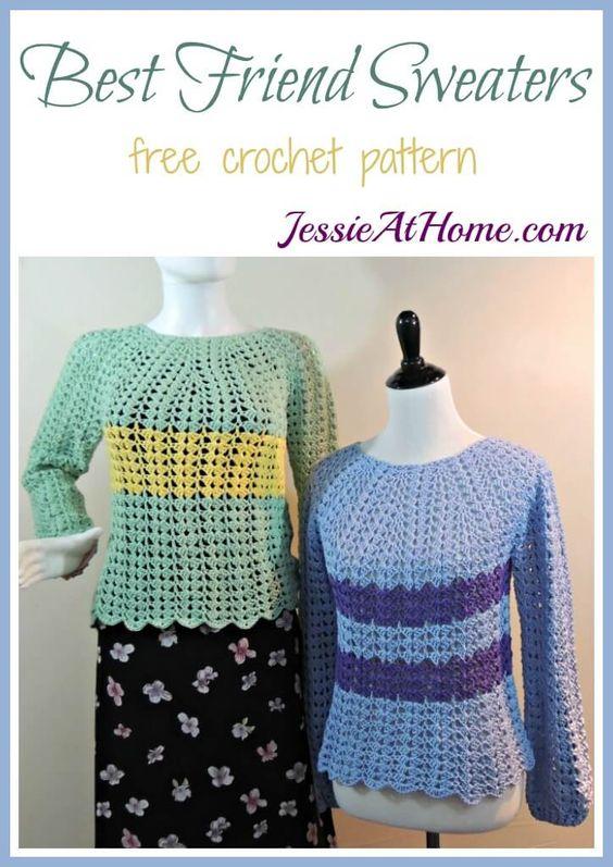 Best Friend Sweaters - free #crochet pattern by Jessie At Home   mis ...