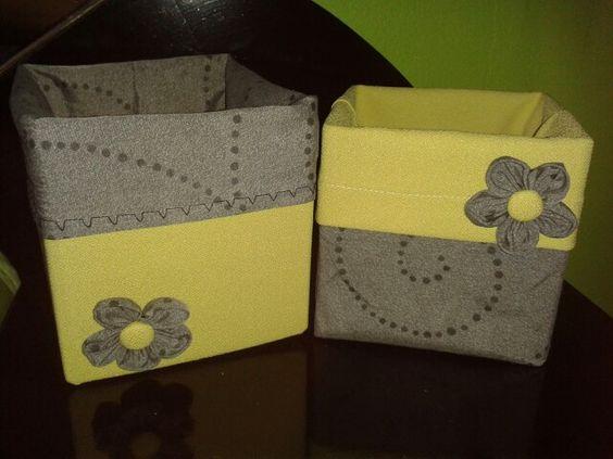 Cajas de cart n forradas en tela mis creaciones - Cajas de carton pequenas decoradas ...