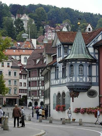 St.GALLEN, Switzerland....the highest city of its size in Europe.  The town was founded by an Irish monk, Gallus, who built a hermitage there in 612.