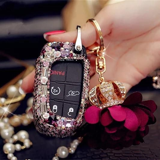 Bling Bedazzled Jeep Dodge Key Fob Cover With Rhinestones Purple For Cherokee Wrangler Jeep Dodge Bling Fobs