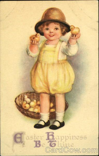 Child with Easter Chicks Series 461 Easter Happiness Be Thine