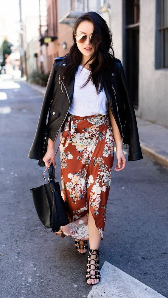 Here's How to Toughen Up Your Floral-Print Skirt | WhoWhatWear