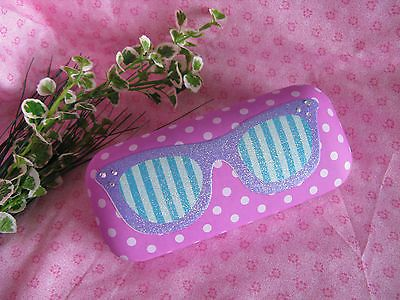 New Pink w/ White Dots Hard Shell Style Glasses Case w/ Bling! Great Gift!
