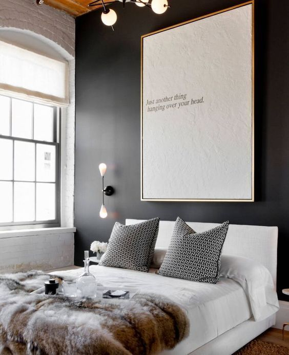 Bold Black Accent Wall Ideas Above Bed Decor Small Master