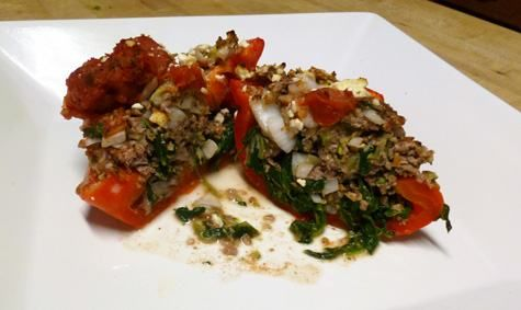 Greek-Style_Stuffed_Peppers. Made mine with Italian sausage and stuffed in zucchini....yummy!!!