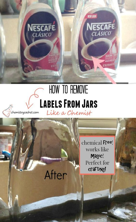 How to remove jar labels as easily as a chemist in a lab! All with items right in your kitchen on chemistrycachet.com