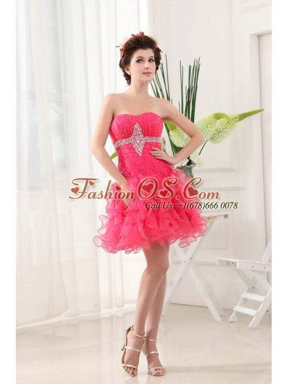 Hot Pink Prom Dress With Ruffled Layers and Beading Ruch  http://www.fashionos.com  | where to buy prom dress | prom dress websites | sleeveless prom dress | prom dress with zipper up back | mini length prom dress | strapless prom dress | fitted waist prom dress | 2013 fashionable prom dress | hot pink prom dress |  As for the super sassy prom dress, it is perfect for you to show off your legs and feet!