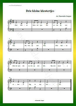 Drie kleine kleutertjes gratis bladmuziek van for Strumento online gratuito piano piano