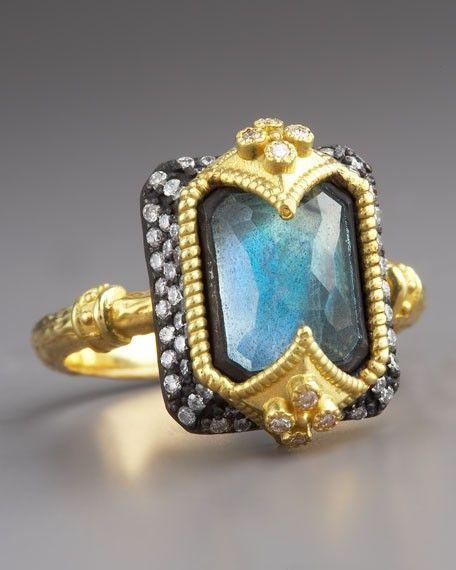 Emily Armenta Dulcinea Emerald cut Labradorite Ring, 18k